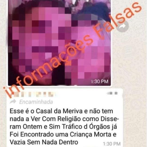 Mensagem divulgada pelo WhatsApp acusa falsamente o casal de cometer crimes  (Foto: Reprodução)