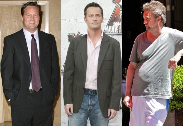 Efeito sanfona: Matthew Perry em 2001, em 2004 e em 2015 (Foto: Getty Images e AKM-GSI)