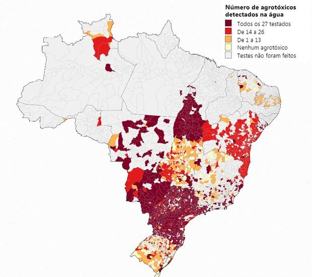 Mapa da toxidade da água, feito pela Repórter Brasil, pela Agência Pública e pela Public Eye (Foto: Por Trás do Alimento/ Reprodução)