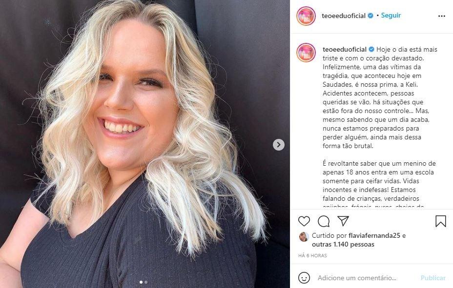 Professora que morreu em ataque em creche de Saudades era prima de dupla sertaneja: 'Adorava trabalhar na escola', diz cantor