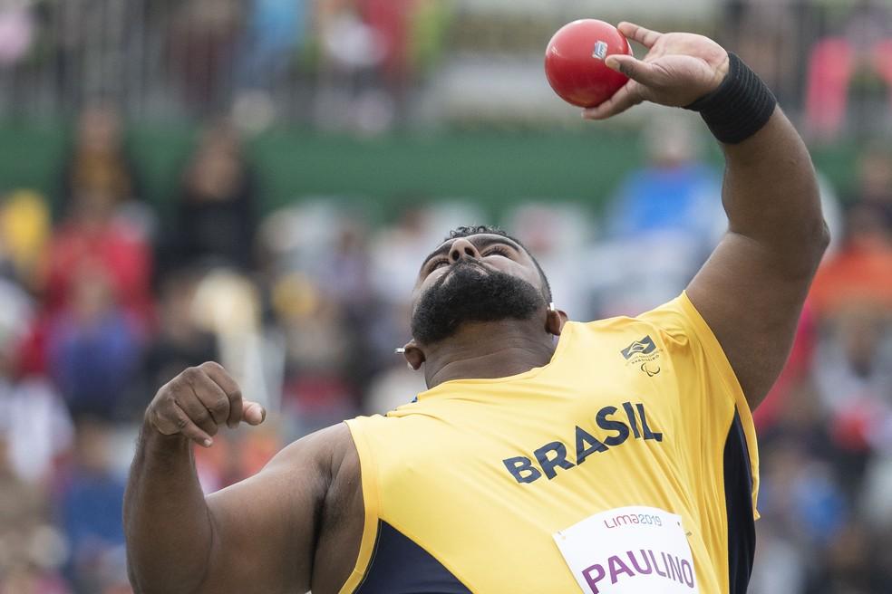 Thiago Paulino bateu o próprio recorde mundial no arremesso de peso, categoria F57  — Foto:  Daniel Zappe/EXEMPLUS/CPB