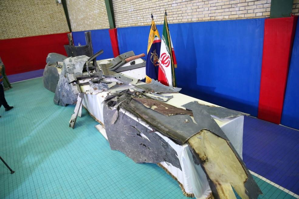 Destroços de drone americano abatido pelo Irã, de acordo com a Guarda  — Foto: Divulgação