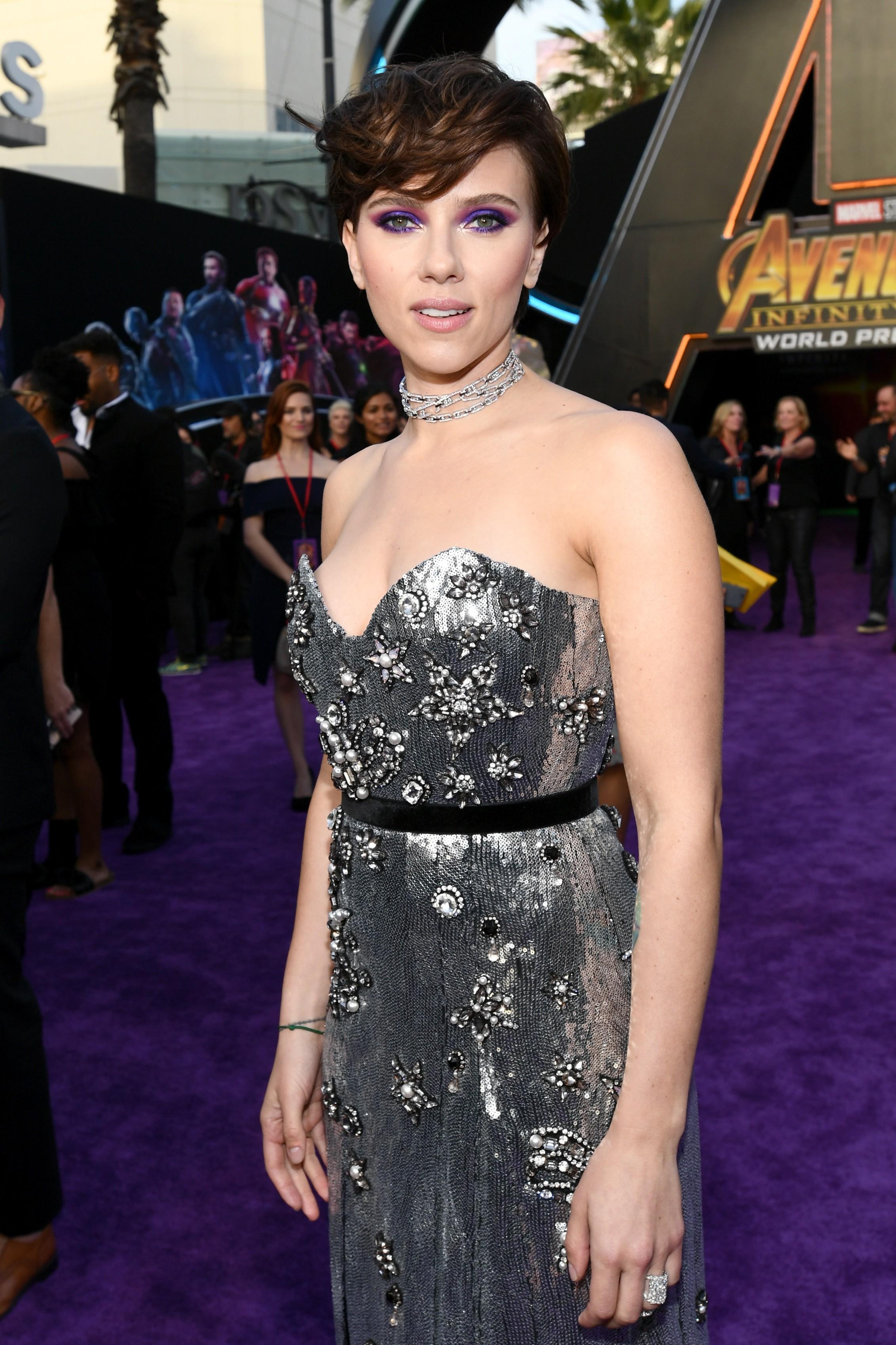 A atriz Scarlett Johansson durante o evento de lançamento do terceiro Vingadores (Foto: Getty Images)