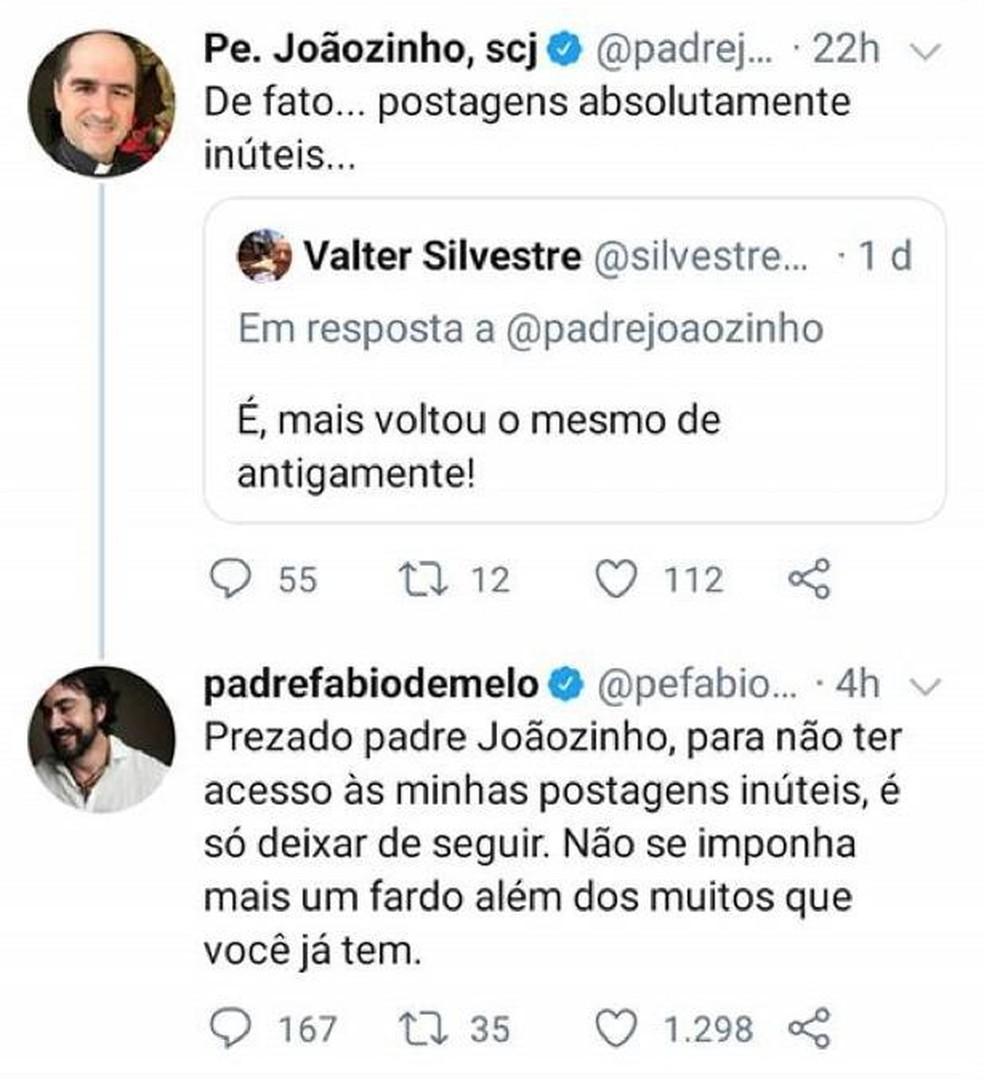 Padre criticou Fábio de Melo por postagens e ele rebateu com sugestão de 'unfollow' — Foto: Reprodução/Twitter