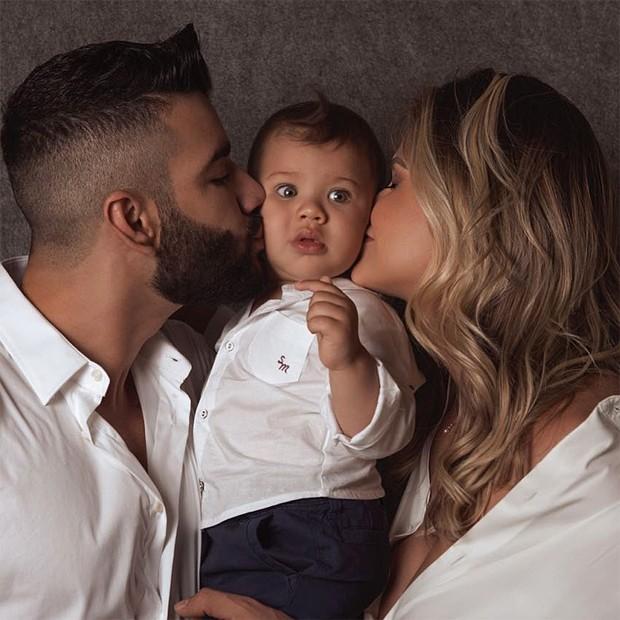Gusttavo Lima, Gabriel e Andressa Suita (Foto: Reprodução/Instagram)