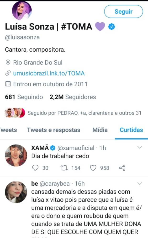 Luisa Sonza curte comentário sobre namoro com Vitão (Foto: Reprodução/Twitter)