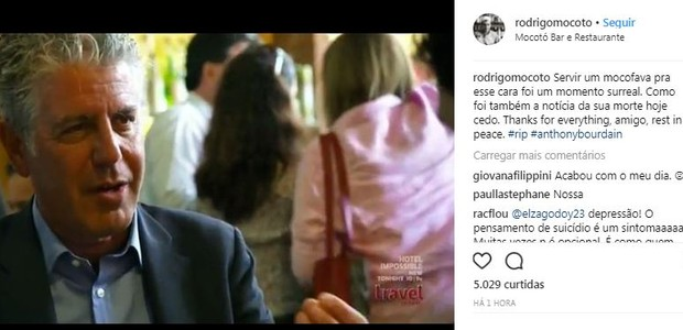 Post do chef Rodrigo Oliveira (Foto: Instagram/Reprodução)