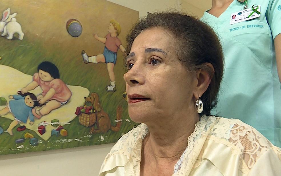 Norma de Oliveira deu à luz uma menina aos 64 anos (Foto: Reprodução/TV Globo)