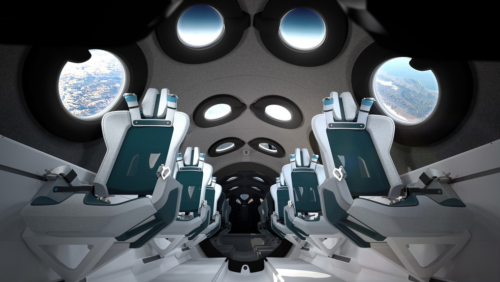Interior do avião espacial da Virgin Galactic. — Foto: Divulgação/Virgin Galactic