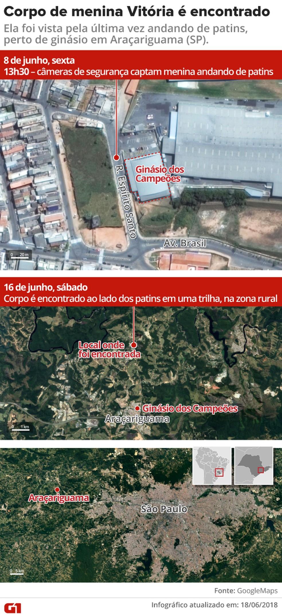 Corpo da Vitória Gabrielly foi encontrado em mata, em Araçariguama, ao lado dos patins (Foto: Rodrigo Cunha/G1)
