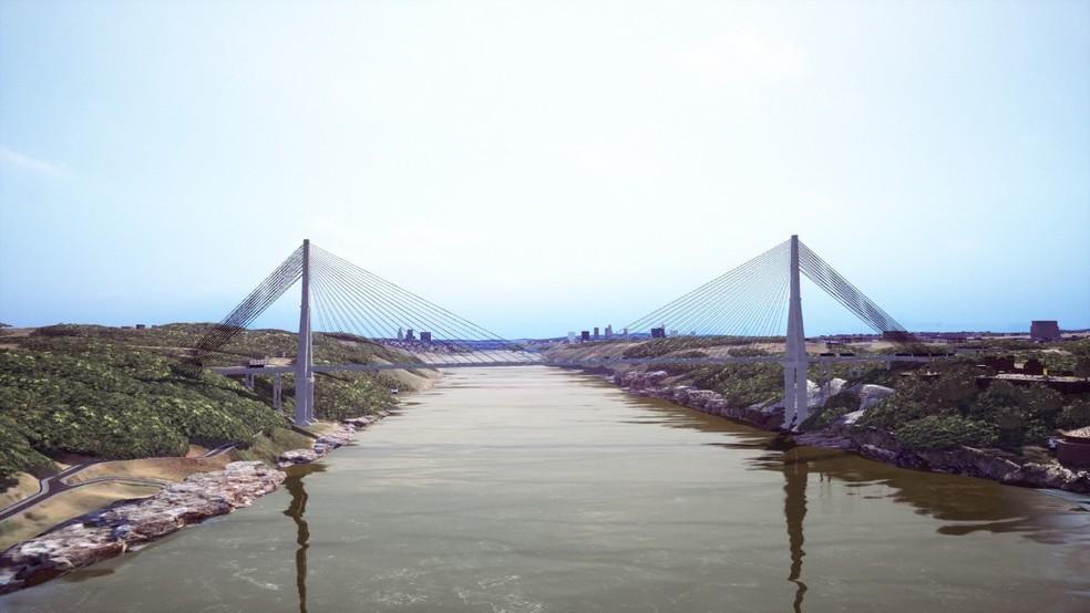 Imagem do projeto da obra mostra como ficará a Ponte da Integração, em Foz do Iguaçu — Foto: Diretoria de Coordenação da Itaipu Binacional/Divulgação