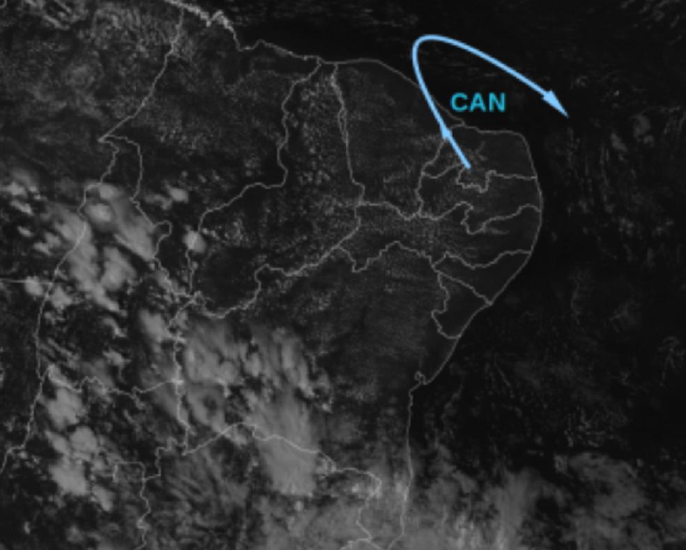Na imagem do satélite há nuvens sobre o Ceará. Chuvas devem atingir toda a faixa litorânea. (Foto: Divulgação/Funceme)