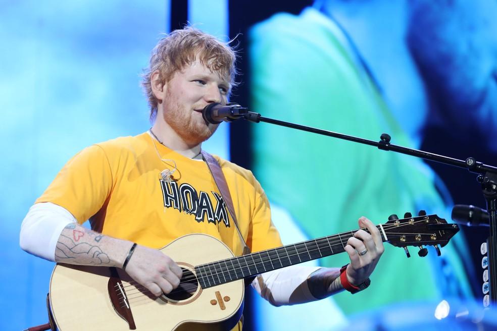 Ed Sheeran durante show nesta quarta (13) no Allianz Parque, em São Paulo — Foto: Celso Tavares/G1
