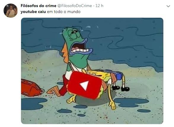 Pessoas ficaram desoladas com a queda do Youtube (Foto: Reprodução / Twitter)
