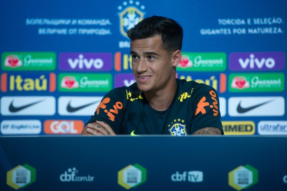 Philippe Coutinho durante entrevista coletiva (Foto: Pedro Martins / MoWa Press)