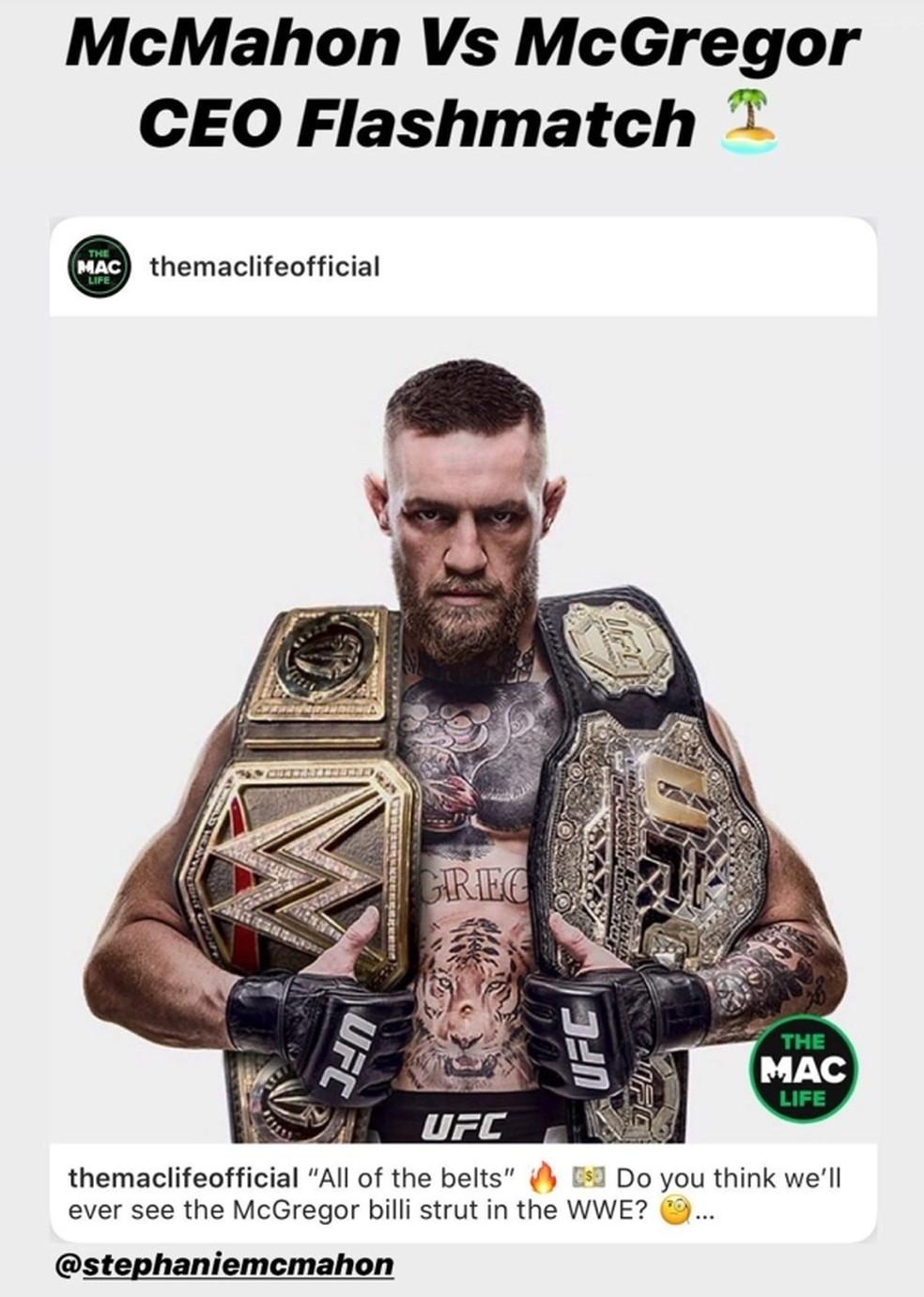 Conor McGregor sugere luta no WWE nas redes sociais — Foto: Reprodução/Instagram