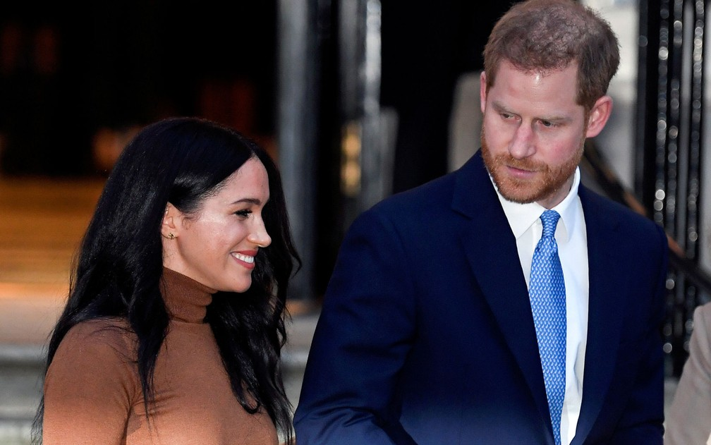 Princípe Harry e sua esposa, Meghan, duquesa de Sussex, em 7 de janeiro, em Londres — Foto: Reuters/Toby Melville