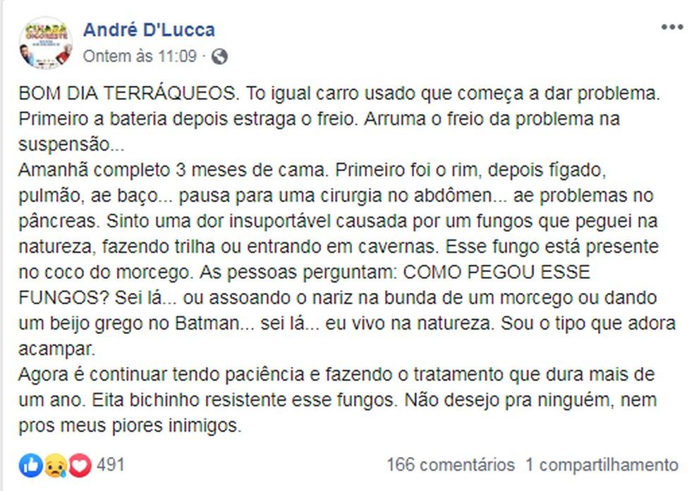 Publicação de André D'Lucca sobre o diagnóstico da doença — Foto: Facebook/Reprodução