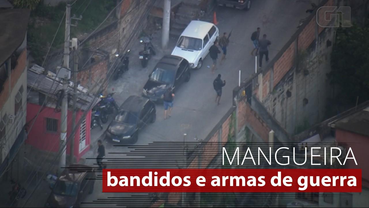 Imagens mostram homens fortemente armados na Mangueira
