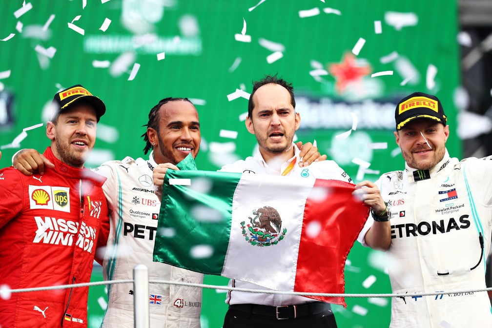 Vettel, Hamilton e Bottas no pódio do GP do México — Foto: Getty Images