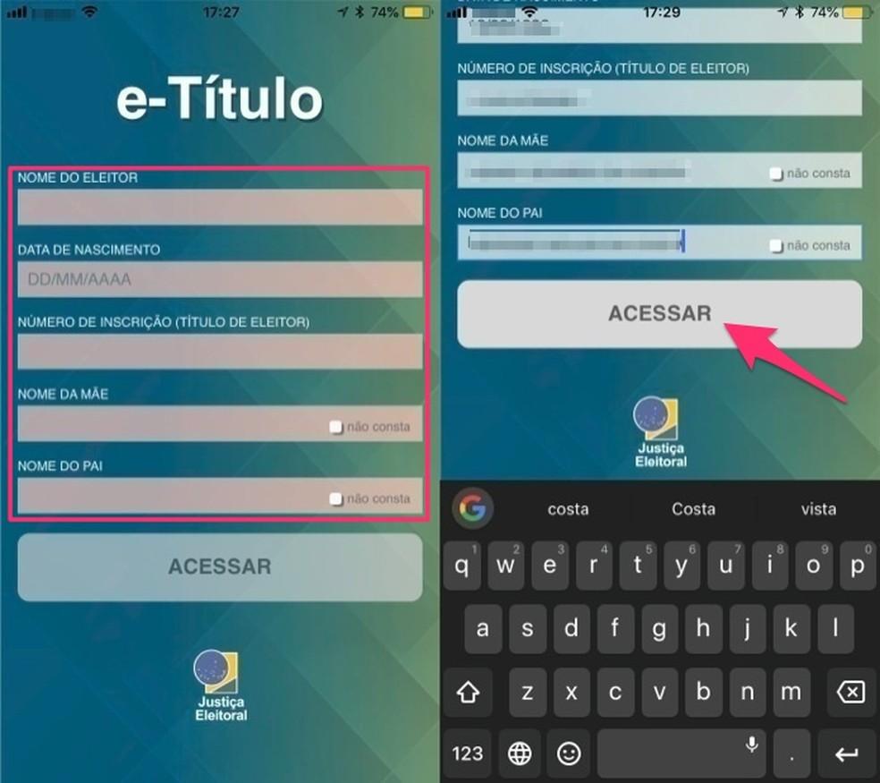 Opção para acessar seu título de eleitor digital pelo app E-Título (Foto: Reprodução/Marvin Costa)