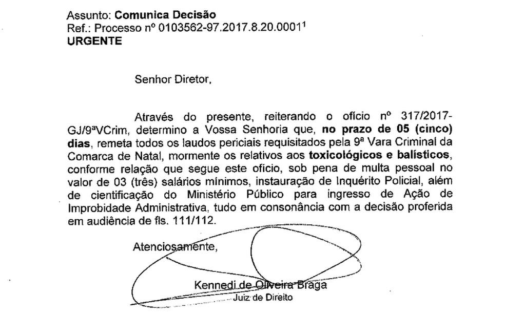 Além de mandar soltar a presa, o juiz ainda ameaçou punir o diretor-geral do Itep com multa pessoal (Foto: Reprodução/G1)