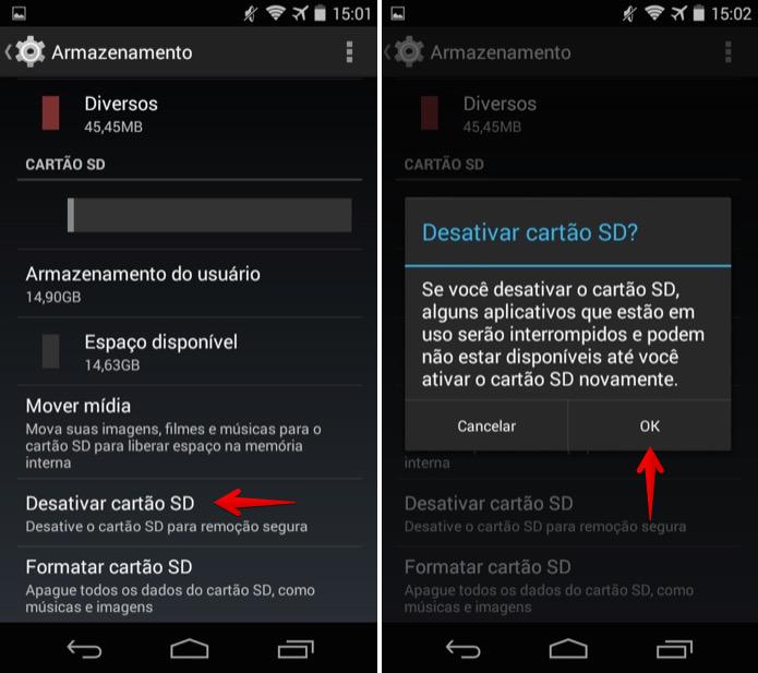 Desativando o cartão de memória no Android (Foto: Reprodução/Helito Bijora)