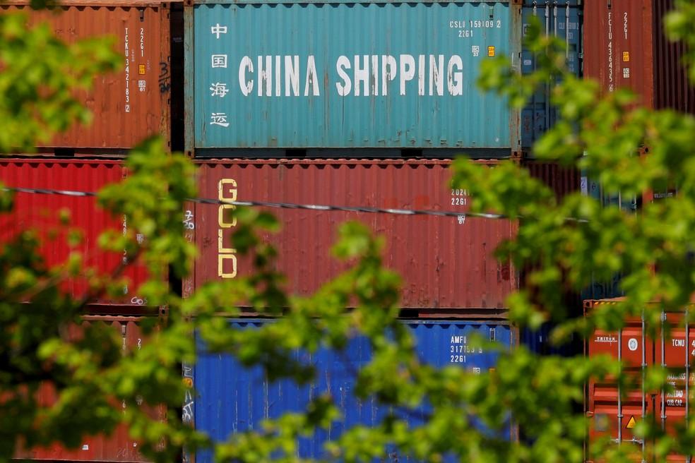 Container com produtos chineses em terminal de Boston, em Massachusetts. — Foto: Brian Snyder/Reuters