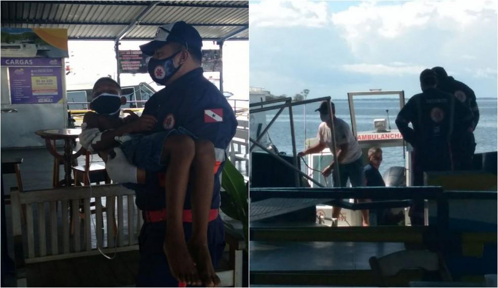Vítimas ficaram desidratadas e foram socorridas pelo Samu neste domingo  — Foto: Jaderson Moreira/TV Tapajós