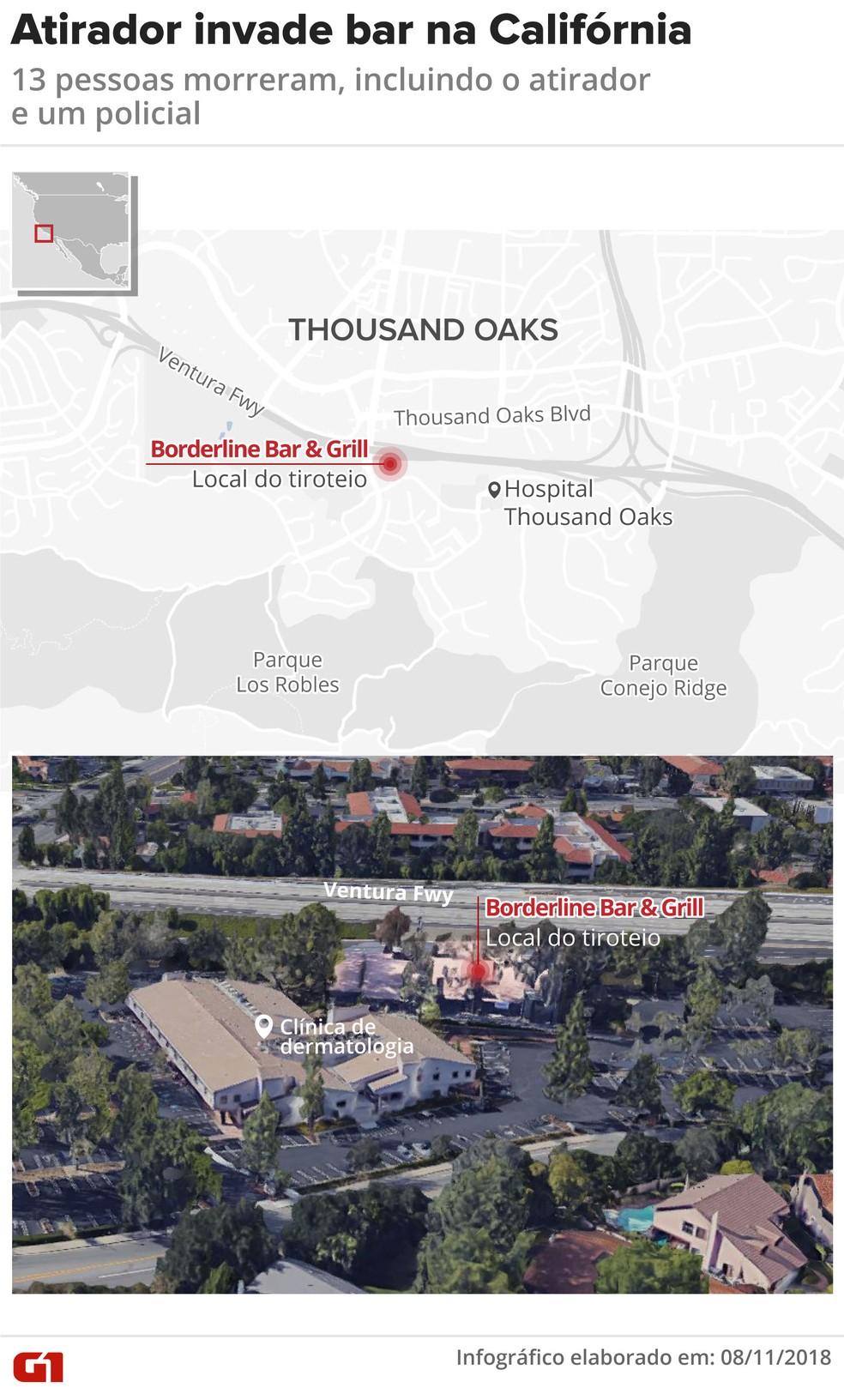 Mapa mostra local do tiroteio na Califórnia — Foto: Infográfico: Juliane Monteiro/G1