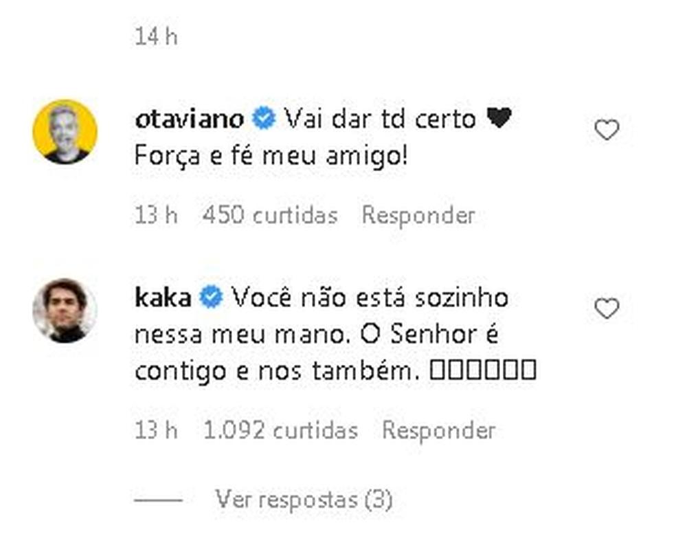 Otaviano Costa e o ex-jogador Kaká publicaram mensagem de apoio ao humorista de Marília — Foto: Instagram/Reprodução