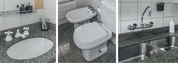 Alguns dos itens que serão trocados na ação de Casa e Jardim e Deca. Da esq. para a dir., o banheiro de Isabella, o de Paolla e a cozinha (Foto: Divulgação Deca)