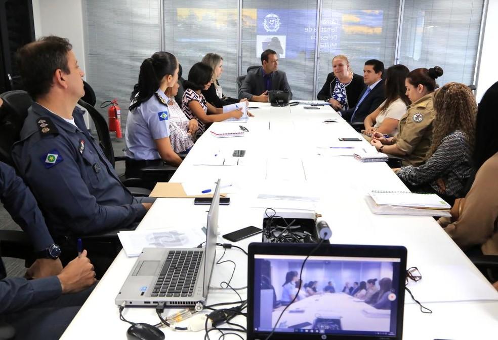 O secretário de Estado de Segurança Pública, Gustavo Garcia, ressalta que este é um passo fundamental na garantia da efetividade de cumprimento da lei. — Foto: Lenine Martins/Sesp-MT