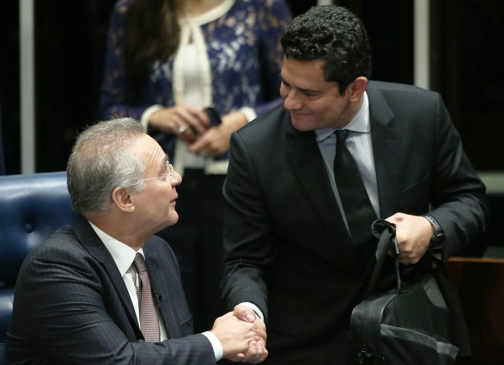 O presidente do Senado, Renan Calheiros (PMDB-AL), durante audiência com o juiz federal Sérgio Moro nesta quinta-feira (Foto: Dida Sampaio/Estadão Conteúdo)