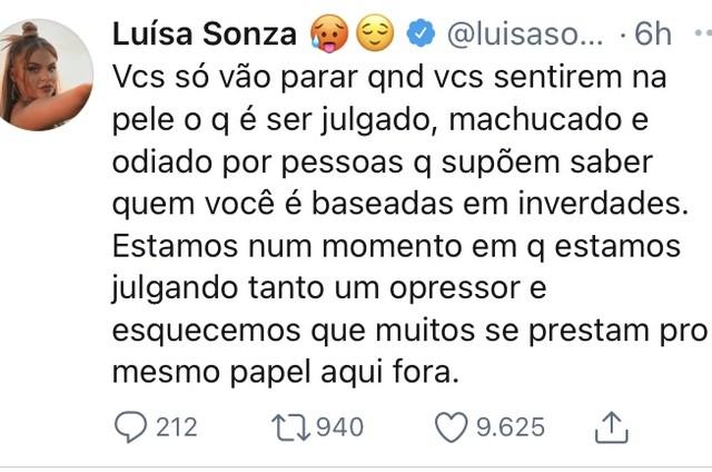 Luísa Sonza no Twitter (Foto: Reprodução)