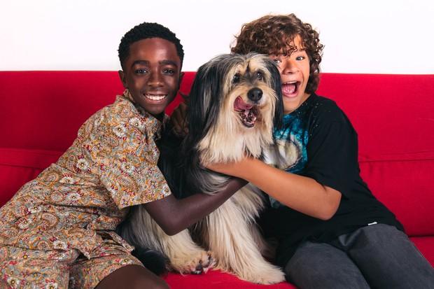 Caleb McLaughlin e Gaten Matarazzo com o cachorro Paul Anka, de Gilmore Girls (Foto: reprodução)