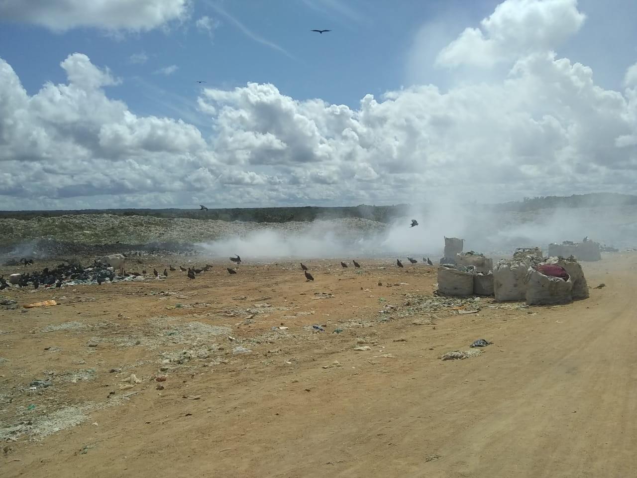 Bombeiros combatem incêndio dentro de lixão em Bragança, no PA - Notícias - Plantão Diário