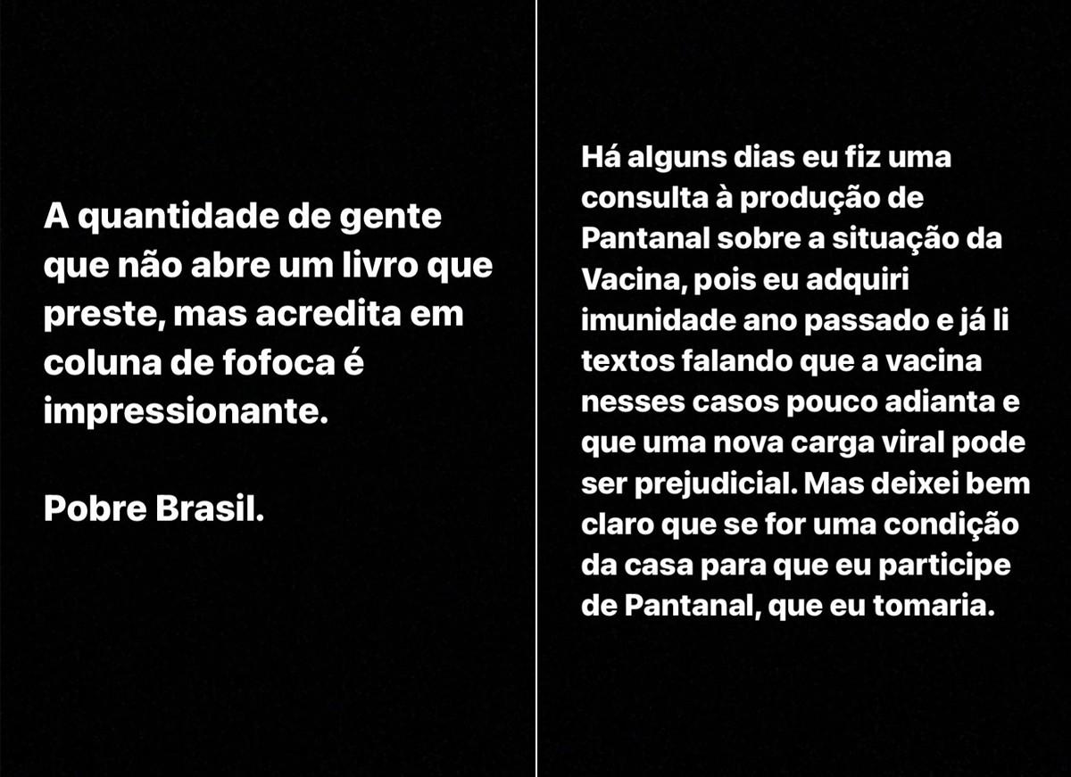 Julian Cazarré se pronuncia sobre polêmica envolvendo vacina de Covid-19 (Foto: Reprodução / Instagram)