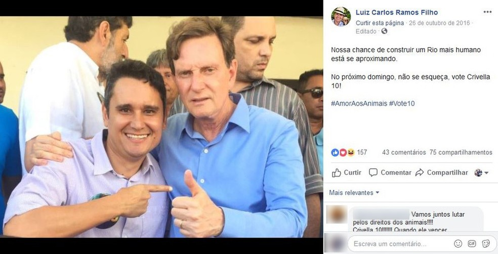 Às vésperas da eleição, Luiz Carlos Ramos Filho (Podemos) declarou voto no então candidato Marcelo Crivella (PRB). Os dois fizeram campanhas juntos — Foto: Reprodução/Facebook