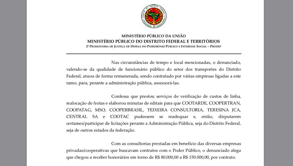 Trecho da denúncia do MP que fala sobre serviços de consultoria prestados (Foto: Reprodução)