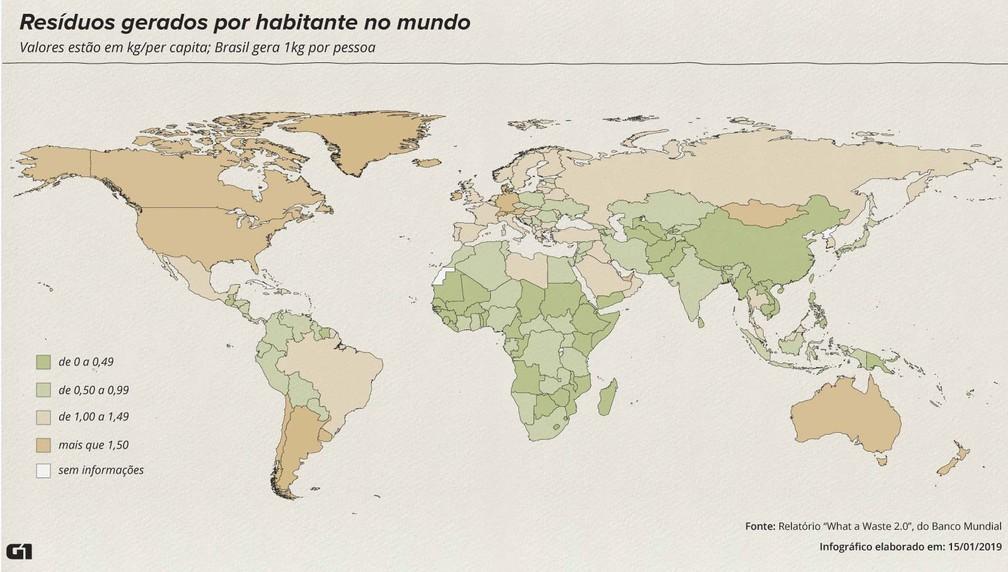 Mapa mostra países que mais produzem lixo no mundo — Foto: Alexandre Mauro/G1