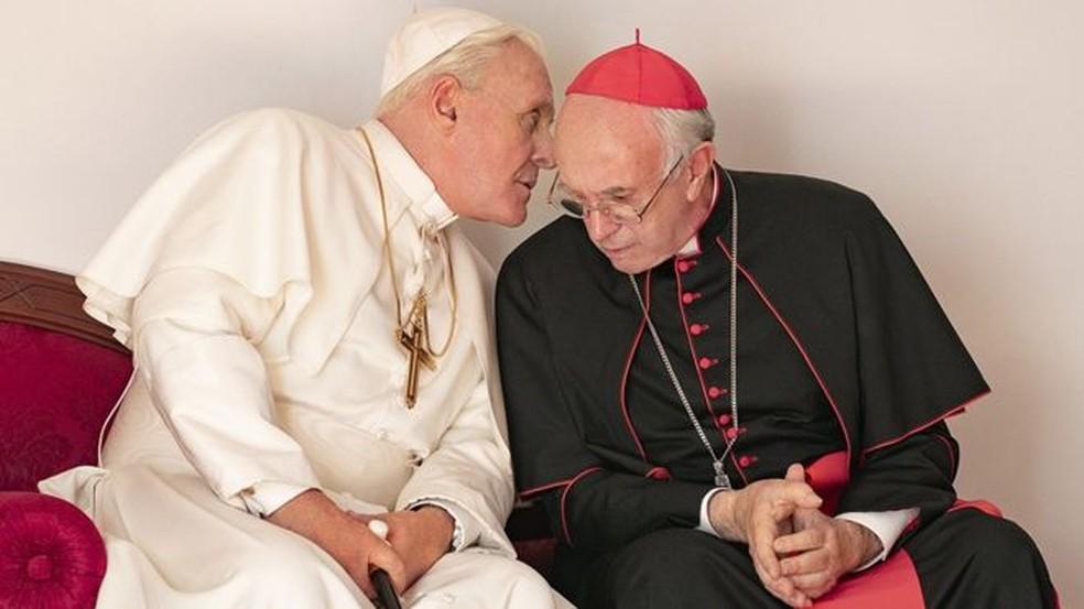 Dois Papas é um filme de Fernando Meirelles sobre Bento 16 e o papa Francisco — Foto: Divulgação/Netflix