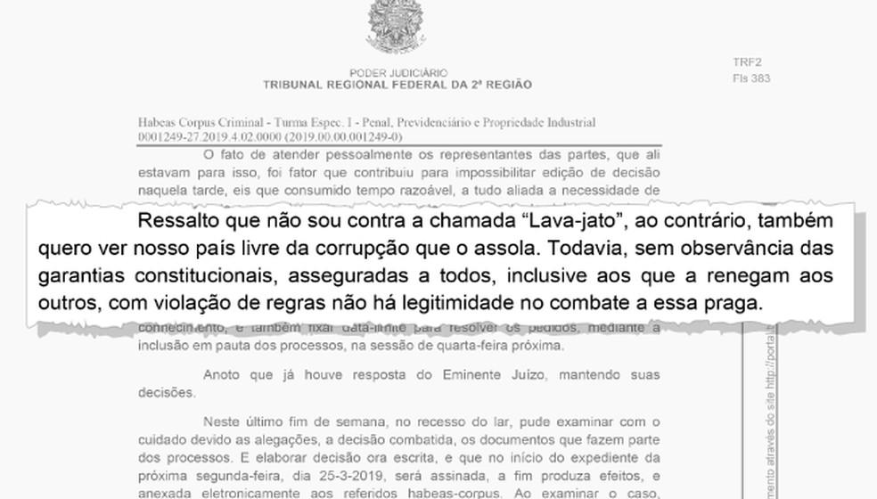 Trecho da decisão do desembargador Antonio Ivan Athié, que determinou a soltura de Michel Temer — Foto: Editoria de Arte/G1