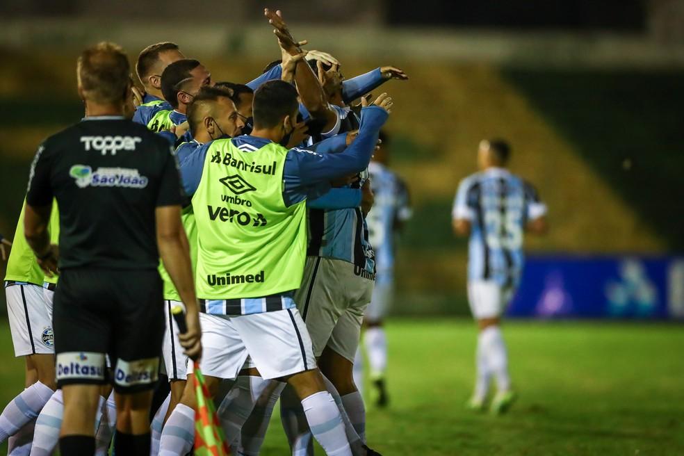 Comemoração do Grêmio em vitória sobre o Ypiranga — Foto: Lucas Uebel/Grêmio