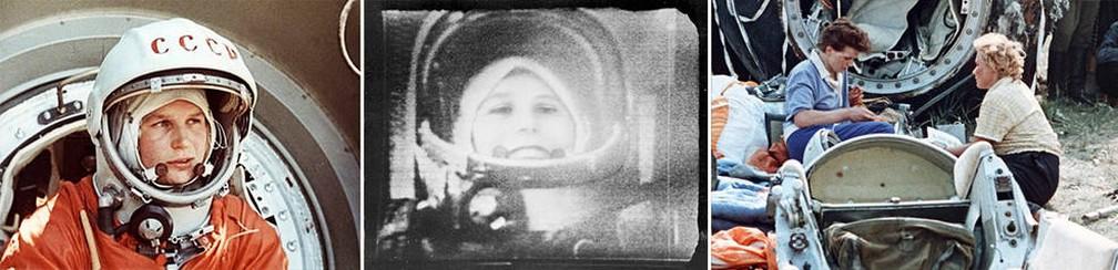 Da esquerda para a direita: Tereshkova antes do lançamento; durante o voo, na TV; e logo após voltar à Terra â?? Foto: RKK Energiya