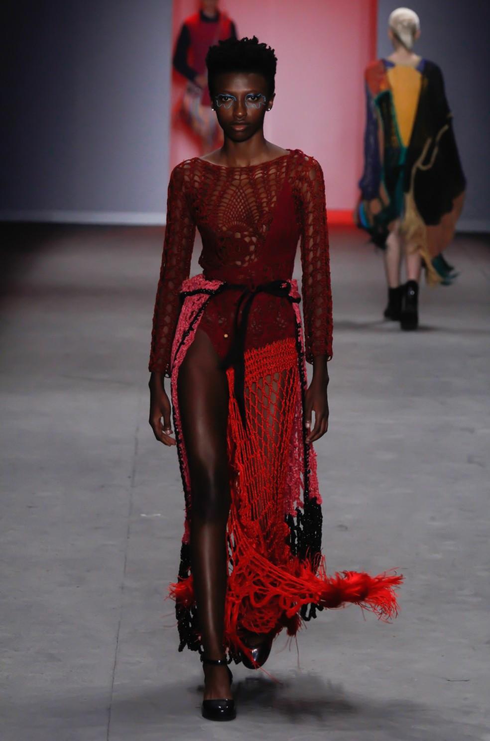 Modelo desfila para Ponto Firme na São Paulo Fashion Week, em abril de 2019 — Foto: Danilo Sorrino/Arquivo Pessoal