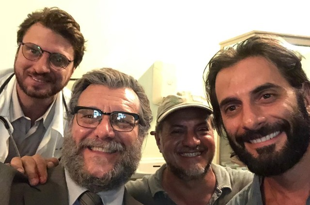 Alex Rech, Roberto Birindelli e Flávio Tolezani com o diretor Breno Silveira (Foto: Arquivo pessoal)