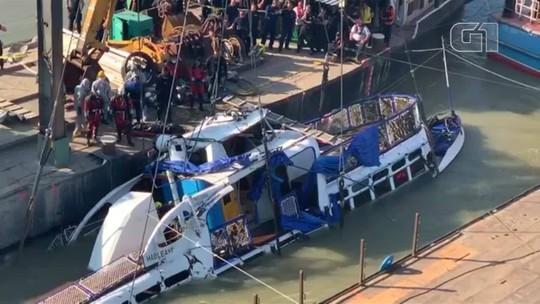 Equipes retiraram restos do barco que afundou no rio Danúbio, em Budapeste
