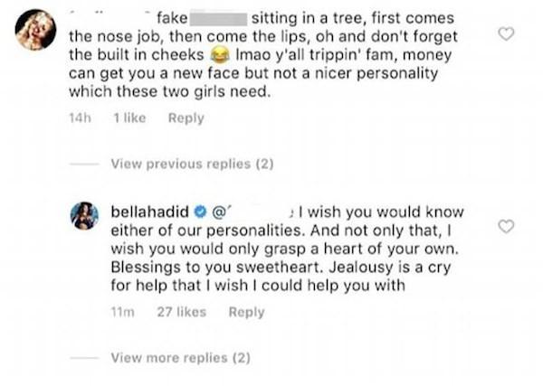 A briga da modelo Bella Hadid com uma seguidora que fez acusações contra ela e a também modelo Kendall Jenner (Foto: Instagram)