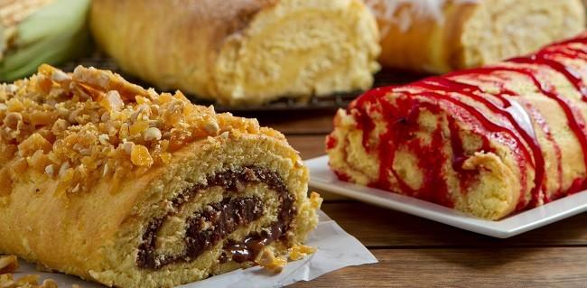 MP Tortas: Rocamboles de coco com cocada, goiaba, pé de moleque, cural de milho e maçã com calda de maçã do amor
